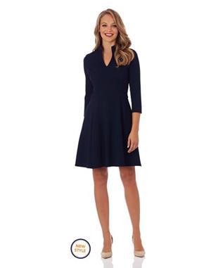 KENNEDY PONTE FIT & FLARE DRESS NAVY