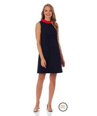 PIPER PONTE SHIFT DRESS  DARK NAVY/TANGERINE
