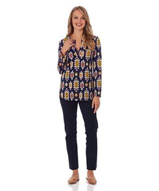 JOSIE TUNIC TOP MEDALLION NAVY