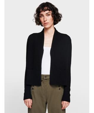 CASHMERE SHRUNKEN POCKET CARDIGAN  BLACK