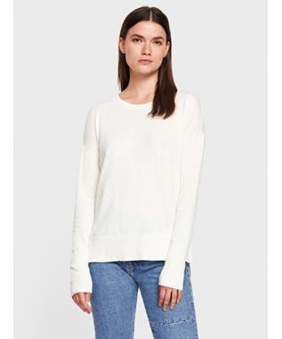 COTTON SILK HIGH-SLIT CREWNECK SWEATER VANILLA