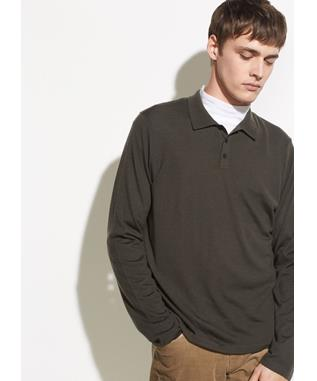 LONG SLEEVE WOOL POLO 317 FATIGUE