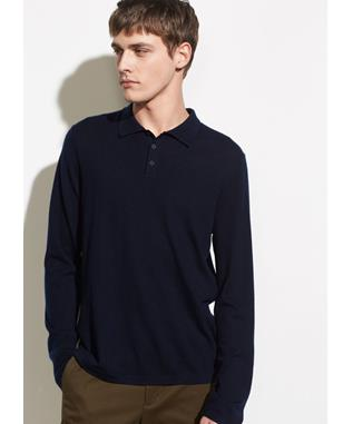 LONG SLEEVE WOOL POLO 403 COASTAL BLUE