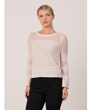 MIXED STITCH BELL SLEEVE SWEATER PLASTER
