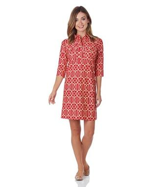 SLOANE SHIRT DRESS  GARDEN GATE RED
