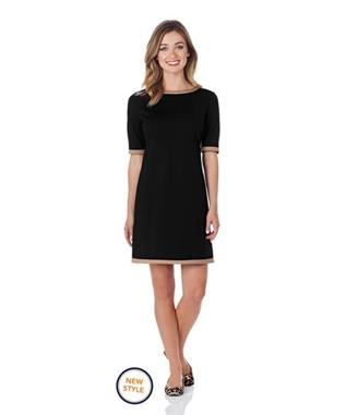 LOUISA PONTE SHIFT DRESS BLACK/CAMEL