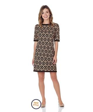 LOUISA PONTE SHIFT DRESS CAMEL/BLACK