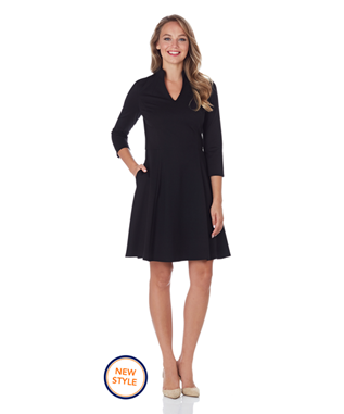 KENNEDY PONTE FIT & FLARE DRESS BLACK