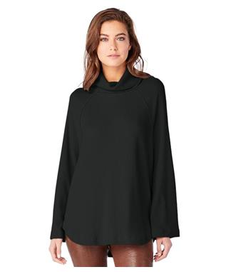 MADISON BRUSHED RIB TURTLENECK RAGLAN TOP CHARCOAL