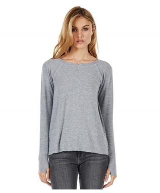 MADISON BRUSHED  NOTCH NECK HI LOW TOP HEATHER GREY
