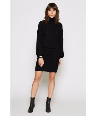 JELINELLE SWEATER DRESS CAVIAR/PARCHMENT