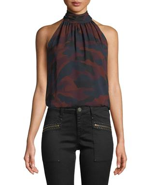 EROLA B SLEEVELESS CAMO PRINT SILK TOP MIDNIGHT