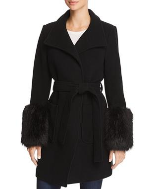 HESPERINA WOOL COAT WITH FAUX FUR CAVIAR