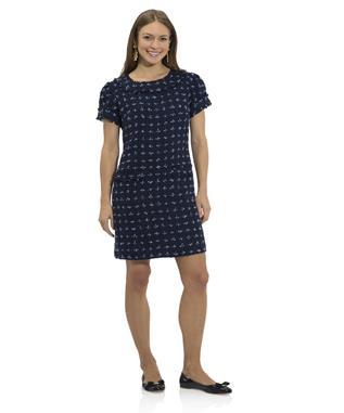 FRINGE TWEED SHORT SLEEVE DRESS NAVY/SKY