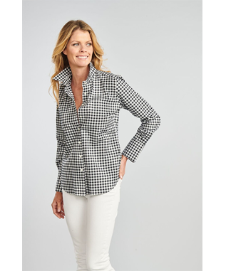 THE IVY GINGHAM BUTTON DOWN SHIRT BLACK/WHITE GINGHAM