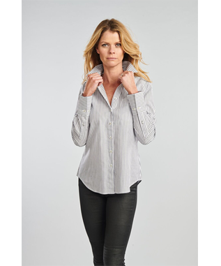 THE IVY JET STRIPE PINPOINT  BUTTON DOWN CHARCOAL/WHITE STRIPE