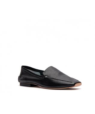 ELYCE-TUMBLED LEATHER LOAFER BLACK