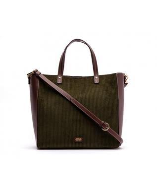 LARGE MARGARET TOTE WITH CORDUROY TRIM OLIVE