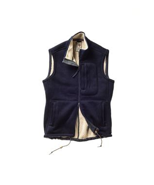 WOOL SHERPA VEST 412 DARK NAVY W/ NATURAL