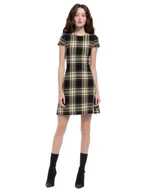 MALIN PLAID DRESS BLACK/ YELLOW