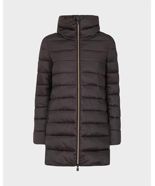 LONG IRIS QUILTED COAT BROWN BLACK-00120