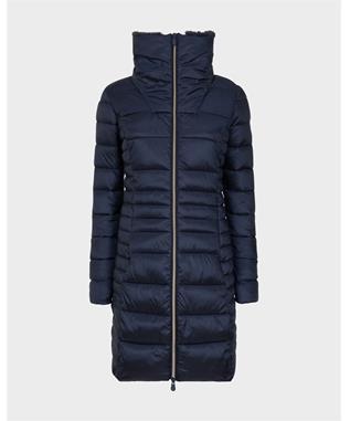 LONG IRIS WINTER COAT WITH FAUX FUR BLUE BLACK-00120