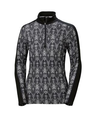 WOMENS LIFA MERINO GRAPHIC 1/2 ZIP UP BLACK/FROST PRINT