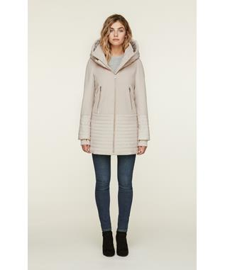AVERY MIXED MEDIA COAT WITH HOOD PORCELAIN