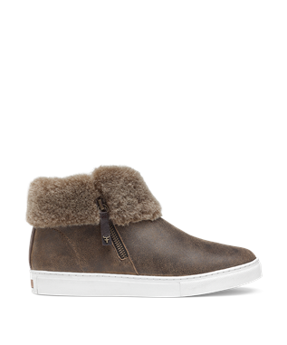 LEXI SIDE ZIP SUEDE SHEARLING SNEAKER BROWN