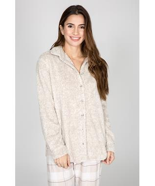 COZY LONG SLEEVE SHIRT OATMEAL