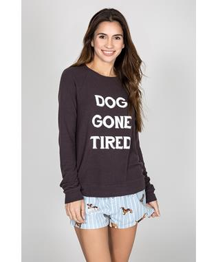 PEACHY GRAPHIC LONG SLEEVE - DOG GONE TIRED SMOKE