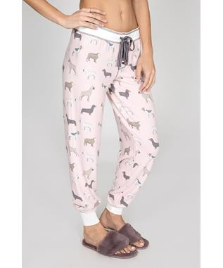 RAINING CATS & DOGS BANDED PANT PINK