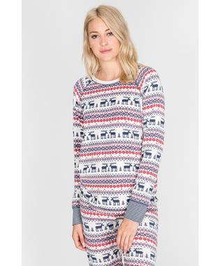 MOOSE FAIR ISLE LONG SLEEVE TOP NATURAL