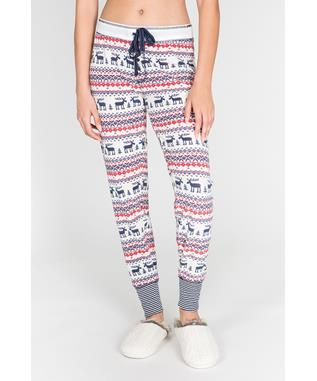MOOSE FAIR ISLE BANDED PANT NATURAL