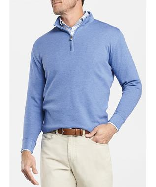 CROWN COMFORT INTERLOCK QUARTER ZIP BLUE COAST