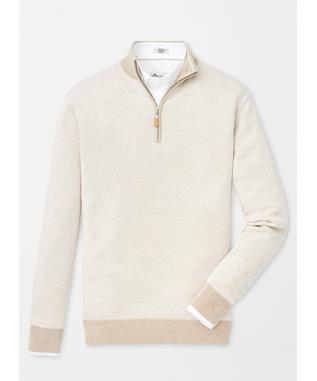CROWN SOFT HERRINGBONE QUARTER ZIP SWEATER BEECH WOOD