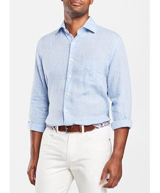 CROWN COOL LINEN SPORT SHIRT COTTAGE BL