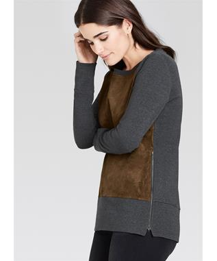 SUEDE AND SWEATER KNIT TOP WITH ZIPPER DETAIL SABLE