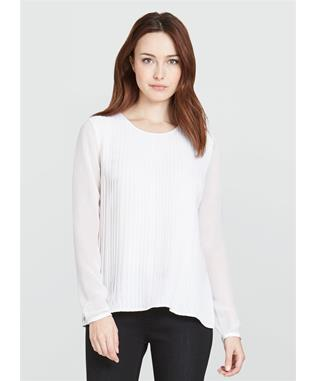 THE MINERVA PLEAT FRONT BLOUSE ALABASTER