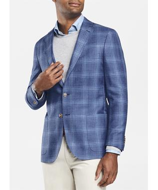CROWN CLASSIC WINDOWPANE SOFT JACKET PLAZA BLUE