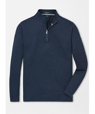 COLLECTION CHARLTON LONG SLEEVE COTTON-SILK QUARTER ZIP BARCHETTA BLUE