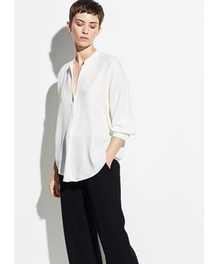 DOT SILK-JACQUARD POPOVER OFF WHITE