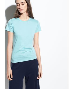 ESSENTIAL PIMA COTTON CREW AQUA