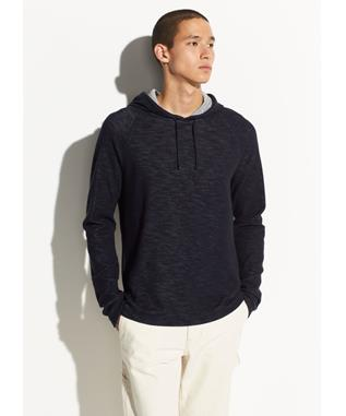 DOUBLE KNIT PULLOVER HOODIE COASTAL/H GREY