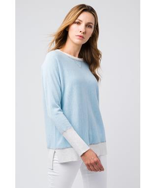 HI LOW SWEATSHIRT CRYSTAL/WHISPER
