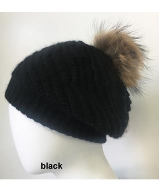SLOUCH HAT WITH POM POM BLACK