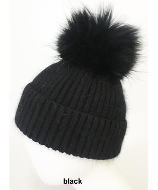 RIBBED ANGORA HAT WITH POM TONAL BLACK