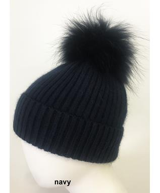 RIBBED ANGORA HAT WITH POM TONAL NAVY