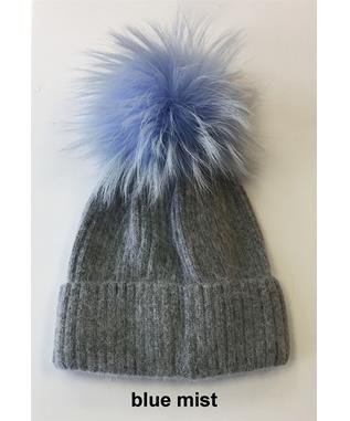 RIB HAT WITH POM MIXED BLUE MIST