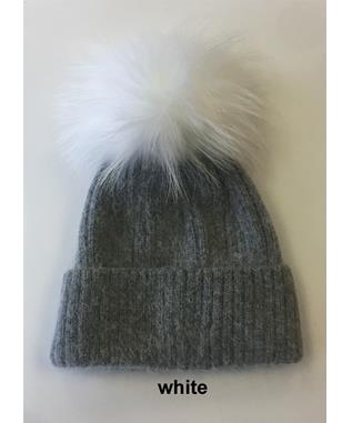 RIB HAT WITH POM MIXED WHITE